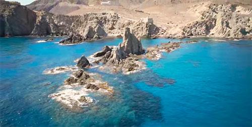 Arrecife de ls Sirenas Faro Cabo de Gata vista aérea