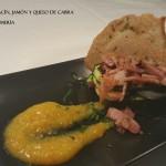 Milhojas de calabacín,jamón y queso de cabra