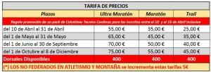 tarifas ultra maratón Almería 2017