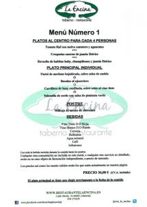 Restaurante La Encina Menú 1