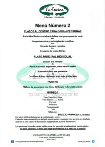 Restaurante La Encina Menú 2