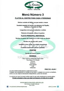 Restaurante La Encina Menú 3