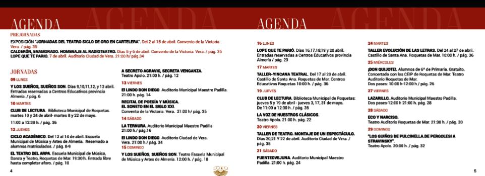 Jornadas teatro siglo de oro Almeria 2018 programA