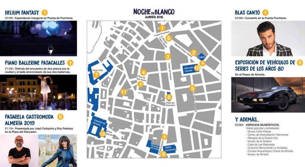 Noche en Blanco Almería 2018.Mapa
