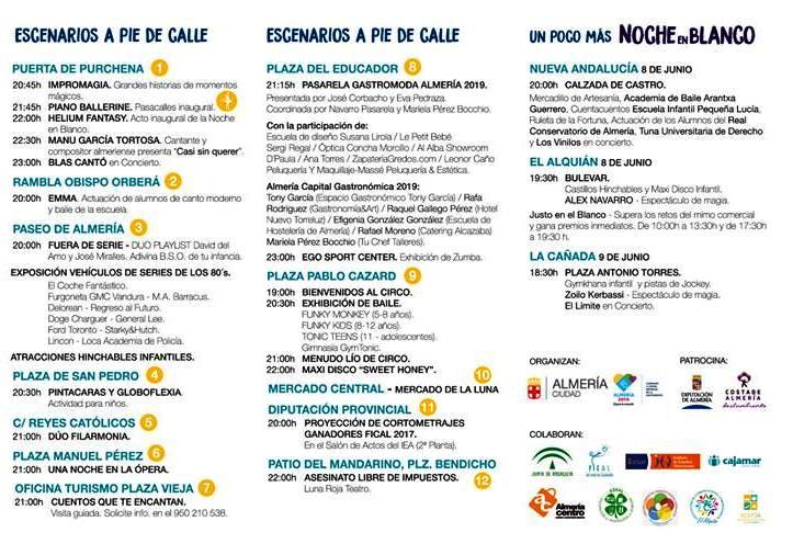 Noche en Blanco Almería 2018.Programa