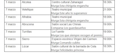 Circuito Provincial de Carnaval 2020 - Dipuatción de Almería