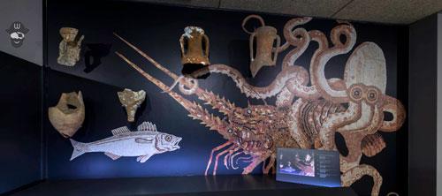 pintura de pez, pulpo y anforasCAEE-Colección-Arqueológica-El-Ejido