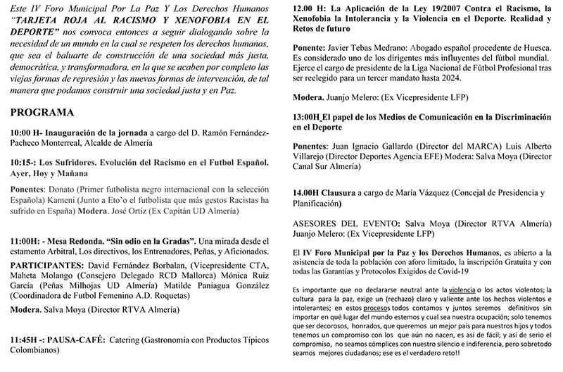IV Foro Municipal Por La Paz y Los Derechos Humanos en Almería