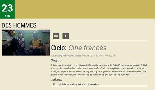 Des HommesAlmería Filmoteca de Andalucía.