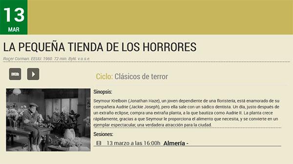 La pequeña tienda del cine de los horrores - Filmoteca de Andalucía