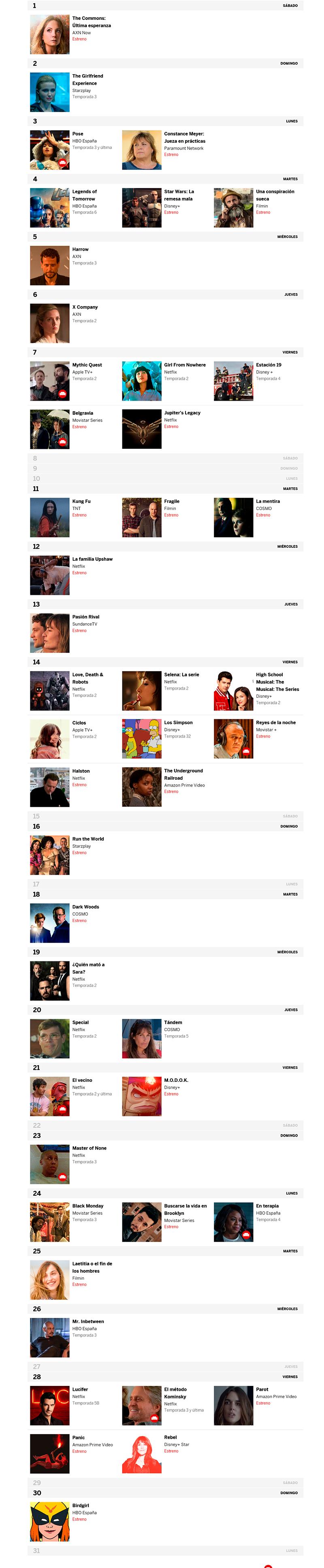 Las mejores series TV - Mayo 2021