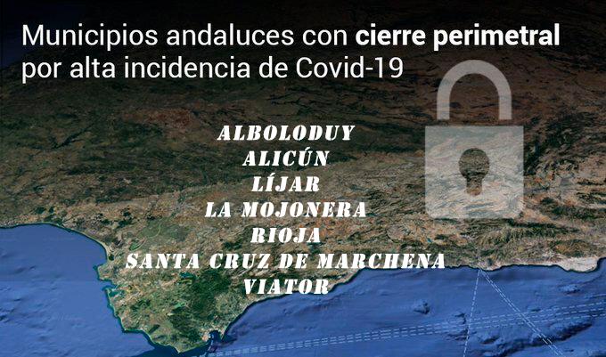 Municipios con cierre perimetral Almería