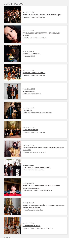 Festival de Música Renacentista y Barroca 2021 en Vélez Blanco