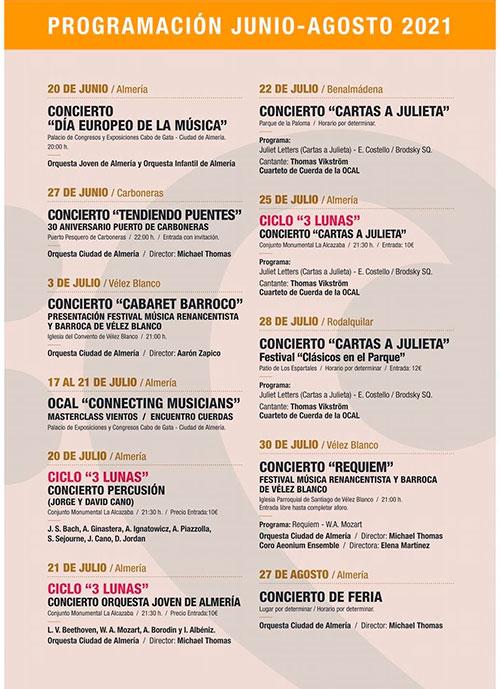 Programación Orquesta Ciudad de Almería OCAL - Verano 2021