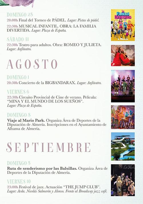 Alhama de Almería programación verano 2021