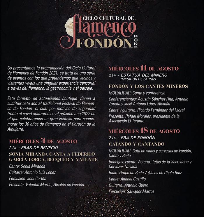 Ciclo Cultural de Flamenco de Fondón 2021