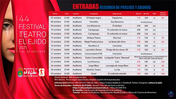 44º Festival de Teatro de El Ejido precios entradas