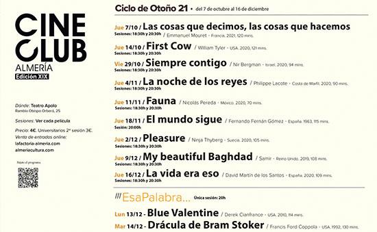 Cineclub Almería - Ciclo Otoño 2021