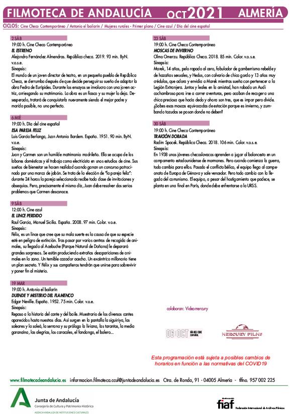 Filmoteca de Andalucía en Almería - Octubre 2021